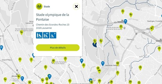 Carte interactive accessibilité Lausanne